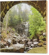 Hadlock Falls Under Carriage Road Arch Wood Print