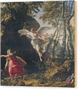 Hagar And Ishmael In The Wilderness Wood Print