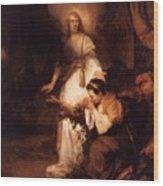 Hagar And The Angel 1645 Wood Print