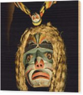 Haida Carved Wooden Mask 4 Wood Print