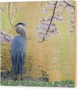 Haiku, Heron And Cherry Blossoms Wood Print