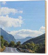 Hairpin Curve On Greek Mountain Road Wood Print