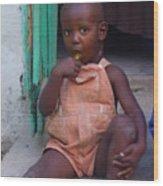 Haitian Boy Wood Print