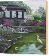 Hakone Gardens Pond In The Spring Wood Print