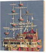 Hakone Sightseeing Cruise Ship Sailing On Lake Ashi Hakone Japan Wood Print by Andy Smy