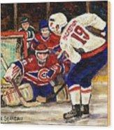 Halak Blocks Backstrom In Stanley Cup Playoffs 2010 Wood Print by Carole Spandau
