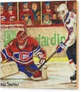 Halak Makes Another Save Wood Print by Carole Spandau