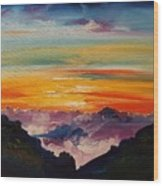 Haleakala Volcano Sunrise In Maui      101 Wood Print