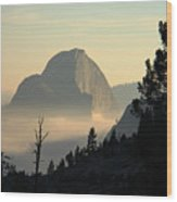 Half Dome And Fog At Olmsted Point In Yosemite Wood Print