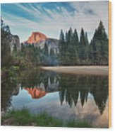 Half Dome And  Merced Wood Print by Mimi Ditchie Photography