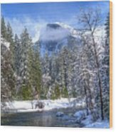 Half Dome And The Merced River Wood Print