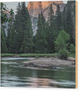 Half Dome In Evening Light Wood Print