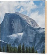 Half Dome In The Clouds Wood Print