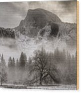 Half Dome In Winter Wood Print by Connie Cooper-Edwards