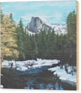 Half Dome Snow Wood Print