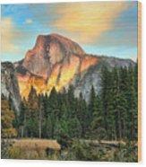 Half Dome Sunset Wood Print