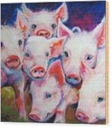 Half Dozen Piglets Wood Print