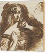 Half-length Sketch Of A Young Woman Wood Print