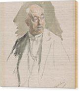 Half Length Study Of An Elderly Man In Evening Dress Wood Print