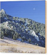 Half Moon Over The Flatirons Wood Print