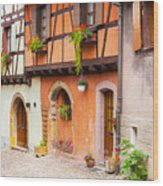 Half-timbered House Of Eguisheim, Alsace, France.  Wood Print
