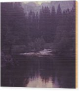 Halfdome Over The Merced Wood Print
