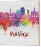 Halifax V2 Skyline In Watercolor Splatters With Clipping Path Wood Print