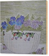 Hall China Crocus Bowl With Violets Wood Print