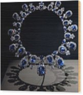 Hall Sapphire And Diamond Necklace Wood Print