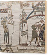 Halleys Comet Of 1066, Bayeux Tapestry Wood Print
