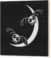 Halloween Bats And Crescent Moon Wood Print