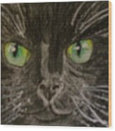 Halloween Black Cat I Wood Print