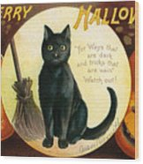 Halloween Greetings With Black Cat And Carved Pumpkins Wood Print