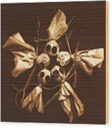 Halloween Horror Dolls On Dark Background Wood Print