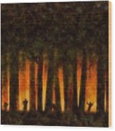 Halloween Horror Zombie Rampage Wood Print