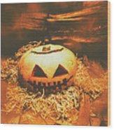 Halloween In Fall. Still Life Pumpkin Head Wood Print