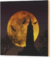 Halloween Moon Wood Print