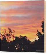 #halloween #morning #sky Is On #fire Wood Print