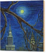 Halloween Night Over New York City Wood Print by Anna Folkartanna Maciejewska-Dyba