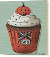 Halloween Pumpkin Cupcake Wood Print by Catherine Holman