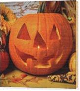Halloween Pumpkin Smiling Wood Print