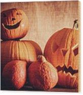 Halloween Pumpkins, Carved Jack-o-lantern. Wood Print
