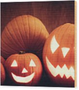 Halloween Pumpkins Glowing, Jack-o-lantern Wood Print