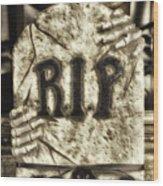Halloween Rip Rest In Peace Headstone Wood Print