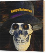 Halloween Skull With Hat Wood Print