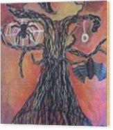 Halloween Tree Wood Print