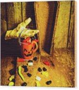 Halloween Trick Of Treats Background Wood Print