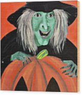 Halloween Witch And Pumpkin Art Wood Print