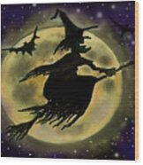 Halloween Witch Wood Print