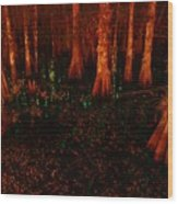 Halloween Woods Wood Print